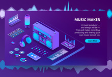 Music Maker Vector Illustration For Recording Production Technology. Isometric DJ Equipment Or Audio Hi-Fi Player, Sound Mixer Controls Or Headphones And Speakers On Purple Ultraviolet Background