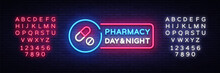 Pharmacy Neon Signboard Vector. Medical Neon Glowing Symbol, Light Banner, Neon Icon, Design Element. Vector Illustration. Editing Text Neon Sign