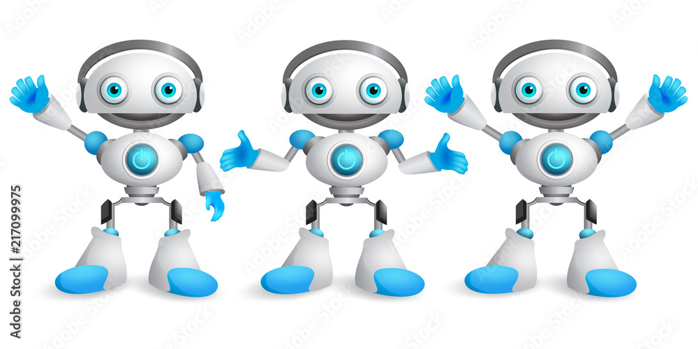 Fototapeta Friendly robots vector character set. Funny mascot robot design element for presentation with postures and hand gestures isolated in white. Vector illustration.