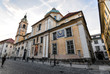 Ljubljana, Slovenia - May 20, 2018: Ljubljana Cathedral or St. Nicholas's Church stands at Cyril and Methodius Square, Ljubljana, Slovenia