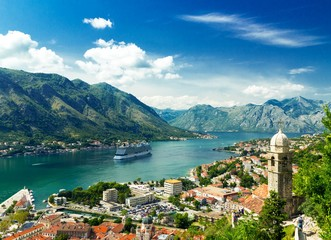 Kotor, Montenegro. Bay of Kotor the most beautiful landscape on Adriatic Sea