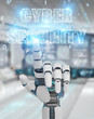 White humanoid hand using cyber security text hologram 3D rendering