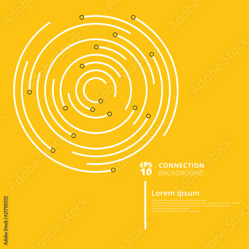 Abstract network connection circles lines and node on yellow background Poster Mural XXL