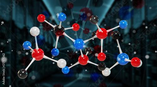 Fotobehang Hoogte schaal Modern digital molecule structure 3D rendering