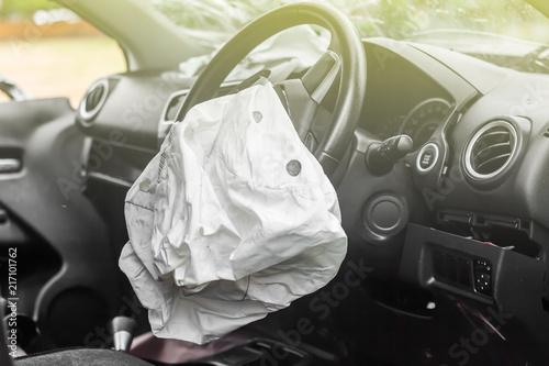 airbag exploded at a car accident,Car Crash air bag Wallpaper Mural