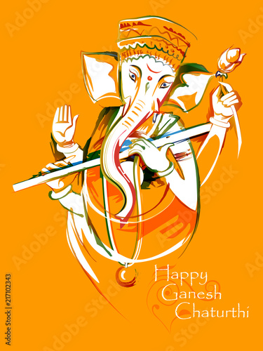 Cuadros en Lienzo Abstract painting of Indian Lord Ganpati for Ganesh Chaturthi festival of India