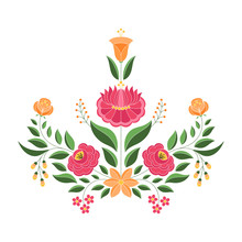 Hungarian Folk Pattern Vector. Kalocsa Floral Ethnic Ornament. Slavic Eastern European Print Isolated. Traditional Embroidery Flower Design For Gypsy Pillow, Vintage Wedding Invitation, Woman Cloth.