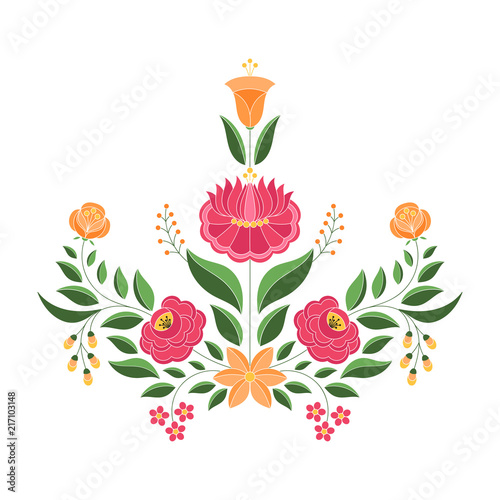 Foto auf AluDibond Boho-Stil Hungarian folk pattern vector. Kalocsa floral ethnic ornament. Slavic eastern european print isolated. Traditional embroidery flower design for gypsy pillow, vintage wedding invitation, woman cloth.