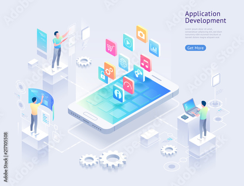 Fototapeta Application development vector isometric illustrations. obraz