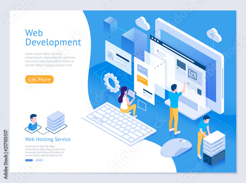 Fotografía Web design and development vector isometric illustrations.