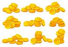 Heaps Of Shiny Golden Coins. Money Or Financial Theme. Elements For Mobile Game, Promo Poster Or Banking Website. Flat Vector Set