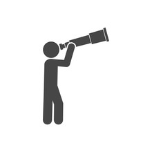 Man Looking Through Huge Telescope Icon