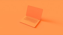 Orange Laptop 3d Illustration