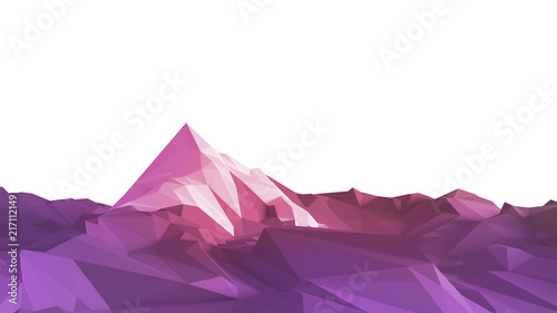 Spoed Foto op Canvas Snoeien Low-poly image of a mountain with a white glacier at the top. 3d illustration