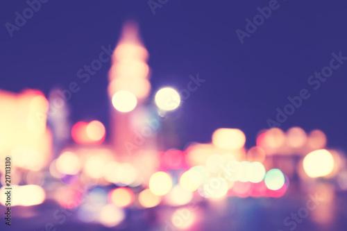 Papiers peints Las Vegas Blurred city lights at night, color toning applied.