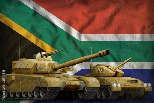 Fotografía  South Africa tank forces concept on the national flag background