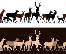 Wild Deer Seamless Vector Border - Monochrome Wildlife Pattern
