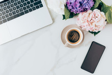 Flat Lay With Coffee, Laptop, ...
