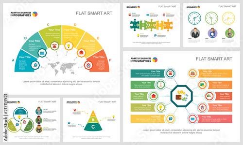 Fotografía  Colorful teamwork or finance concept infographic charts set