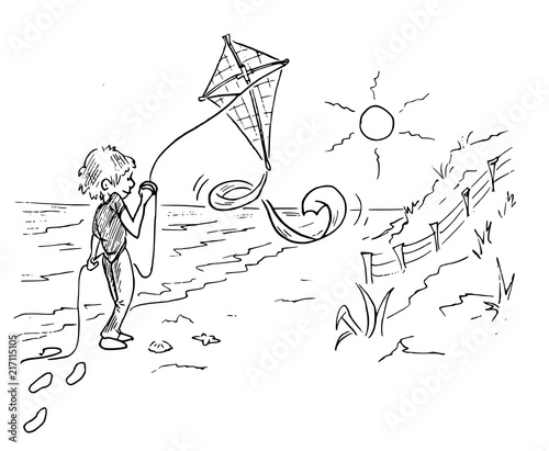 jongen met vlieger aan het strand Billede på lærred