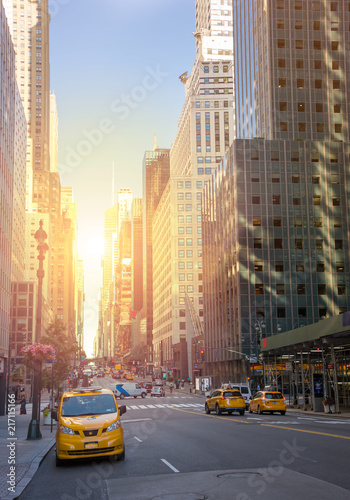 Poster New York TAXI A street New York city with yellow cabs