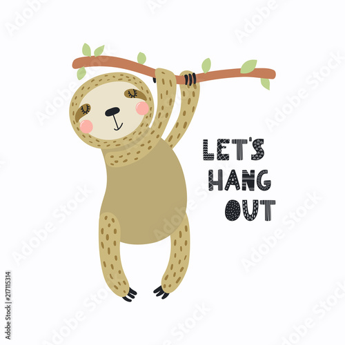 Printed kitchen splashbacks Illustrations Hand drawn vector illustration of a cute funny sloth hanging from the branch, with quote Let's hang out. Isolated objects on white background. Scandinavian style flat design. Concept for kids print.