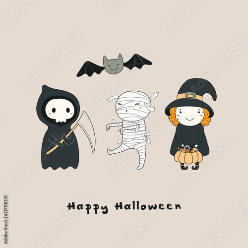 Recess Fitting Illustrations Hand drawn vector illustration of a kawaii funny death, witch, mummy, bat, with text Happy Halloween. Isolated objects. Line drawing. Design concept for print, card, party invitation.