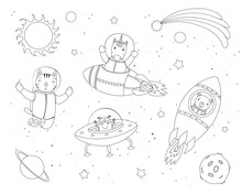 Hand Drawn Black And White Vector Illustration Of Cute Funny Cat, Bear, Unicorn Astronauts, Alien In Space, With Planets, Stars. Isolated Objects. Line Drawing. Design Concept Children Coloring Pages.