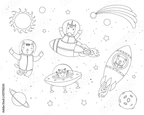 In de dag Illustraties Hand drawn black and white vector illustration of cute funny cat, bear, unicorn astronauts, alien in space, with planets, stars. Isolated objects. Line drawing. Design concept children coloring pages.