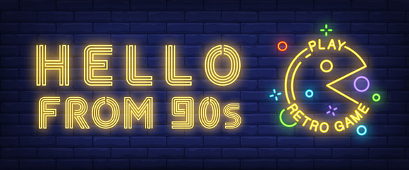 Hello from nineties, play retro game neon text with character. Entertainment ...