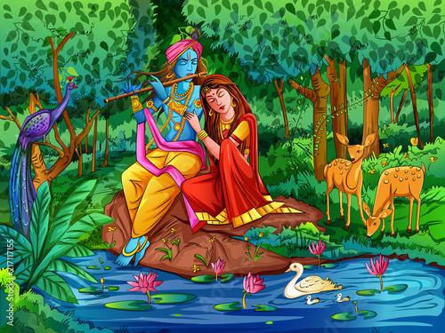 Fotografie, Tablou Lord Krishna playing bansuri flute with Radha on Happy Janmashtami holiday festi