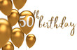 canvas print picture Gold Happy 50th birthday balloon greeting background. 3D Rendering