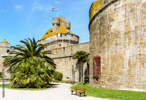 The castle of Duchess Anne of Brittany in the old town of Saint-Malo, France, wi Poster