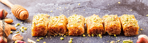 Homemade baklava with nuts and honey. Canvas-taulu