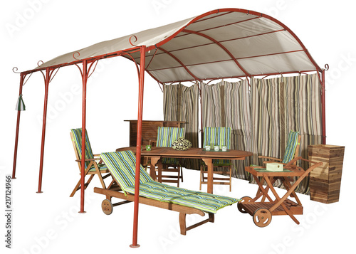 Poster Muziekwinkel Garden tent and wooden garden furniture isolated on white