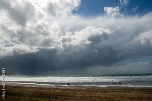 Dark clouds over Widemouth Bay Canvas Print