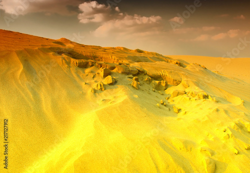 Poster de jardin Jaune Sunset over the Sahara Desert