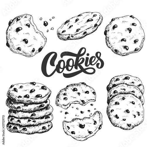 Sketch ink graphic cookies set illustration, draft silhouette drawing, black on white line art. Delicious vintage etching food design.