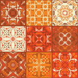 Fototapeta Kuchnia - Set of tiles background. Template for wallpaper, backgrounds, ceramic and more. Decoration for your design. Grunge design