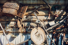 Old Rustic Tools, Hanging On T...