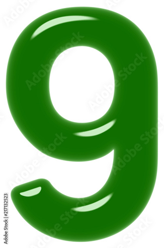 Poster  Numeral 9, nine, isolated on white background, 3d render