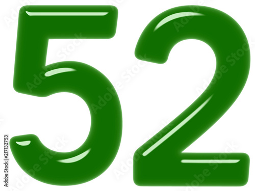 Poster  Numeral 52, fifty two, isolated on white background, 3d render