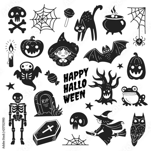 Halloween Vector Black And White.Happy Halloween Icons Collection Vector Illustration Of Funny Black