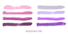 Set Of Purple, Pink, Lilac, Rose, Violet, Gray, Lavender Watercolor Hand Painted Stripes Isolated On White Background. Collection Of Vector Acrylic Dry Brush Stains, Strokes, Geometric Horizontal Line