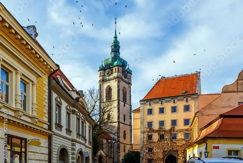 Old buildings and church in Melnik, Czech republic. Poster