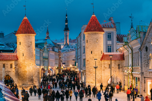 Tallinn, Estonia. People Walking Near Famous Landmark Viru Gate