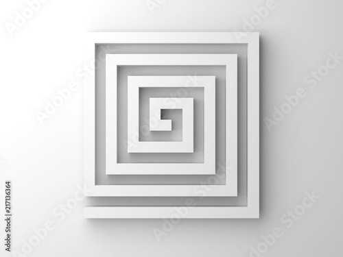 Valokuvatapetti Abstract white 3d square spiral maze object