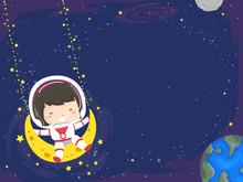Kid Girl Swing Moon Space Background Illustration