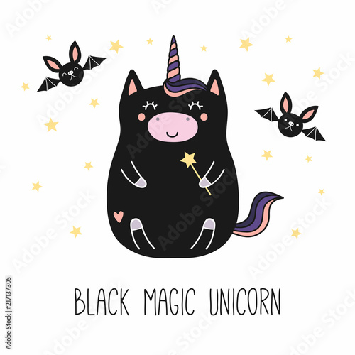 Recess Fitting Illustrations Hand drawn vector illustration of a kawaii funny fat black unicorn, with a magic wand, bats, text. Isolated objects on white background. Line drawing. Design concept for children print.