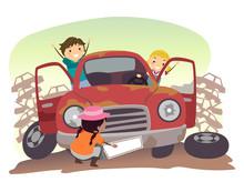 Stickman Kids Play Junk Car Illustration